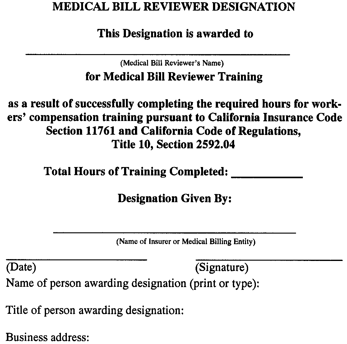§ 2592.11. Designation -Medical Bill Reviewer., Article 20 ...