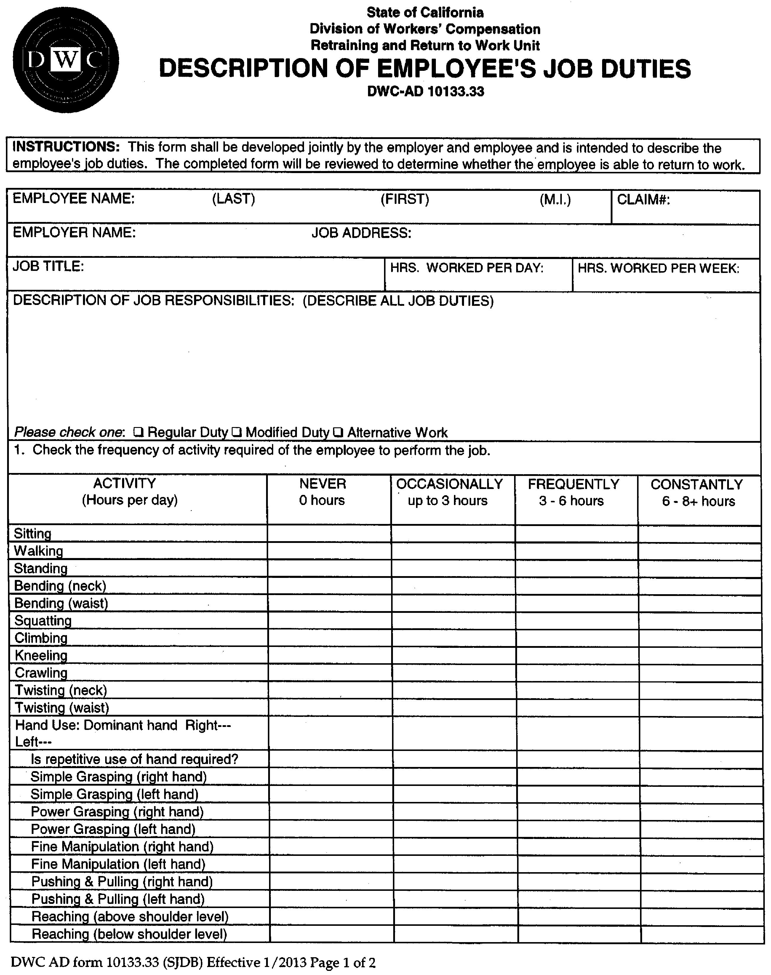 10133 33 form dwc ad 10133 33 description of employee s job